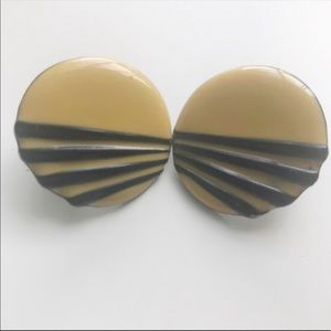 Yellow and black circle button earrings VTG 90s